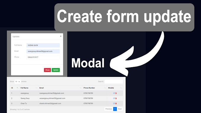 Create modal form update front end Laravel example