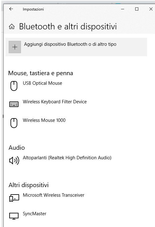 Impostazioni Bluetooth e altri dispositivi windows 10