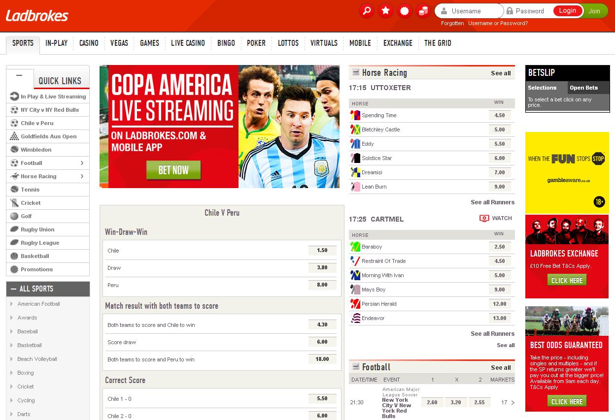 Ladbrokes Sportsbook Screenshot