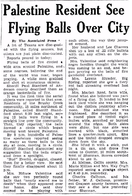 Palestine Resident Sees Flying Balls - The Brownsville Herald - 7-9-1947
