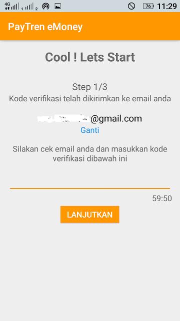 cara daftar paytren - masukkan kode verifikasi di email Anda