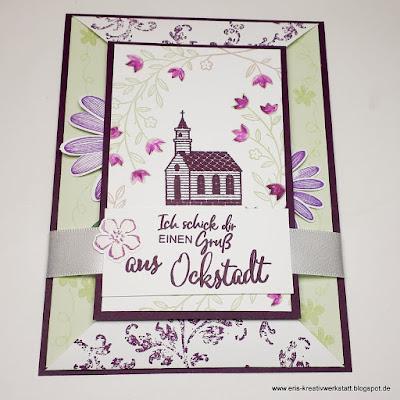 Besondere Klappkarte / Rahmenkarte mit Ockstädter Kirschblüten und Kirche Stampin' Up! www.eris-kreativwerkstatt.blogspot.de