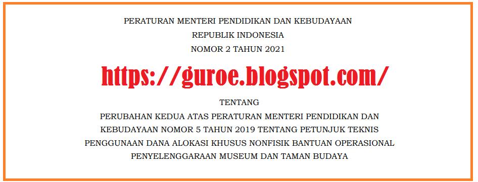 Permendikbud Nomor 2 Tahun 2021 Tentang Juknis BOP MTB Museum Dan Taman Budaya Tahun 2021
