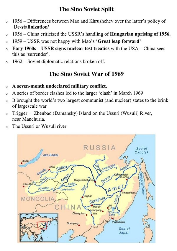 Sino Soviet Conflict And War Of 1969