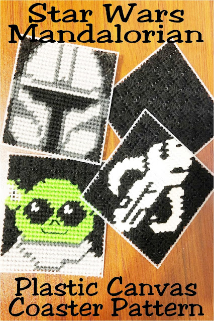 Decorate at your Star Wars party or at home with these fun Mandalorian coasters.  Coasters are easy to put together using simple plastic canvas stitches and these free plastic canvas patterns.