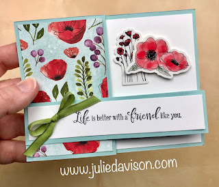 His and Hers Double Z Fold Cards + VIDEO Tutorial ~ Stampin' Up! Peaceful Poppies Suite ~ www.juliedavison.com