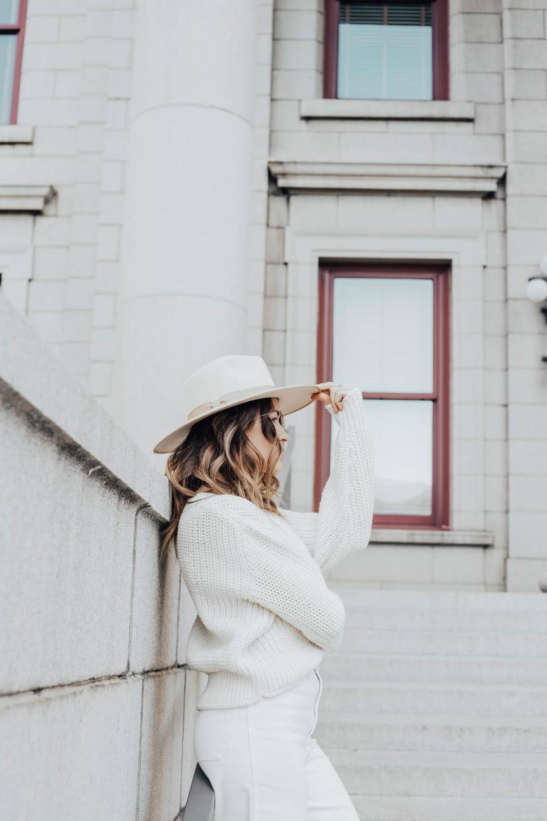 white hat white sweater white jeans