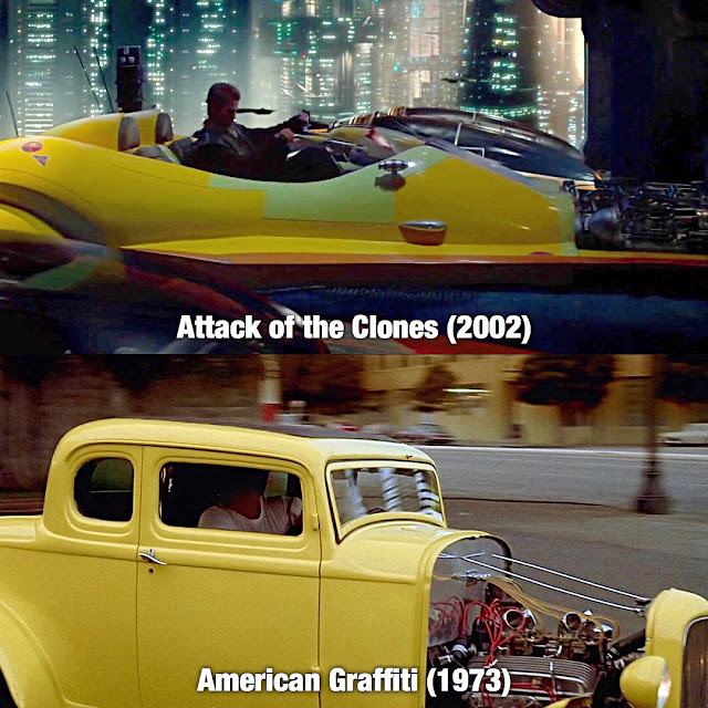 comparison of the yellow car in american graffiti to Attack of the Clones