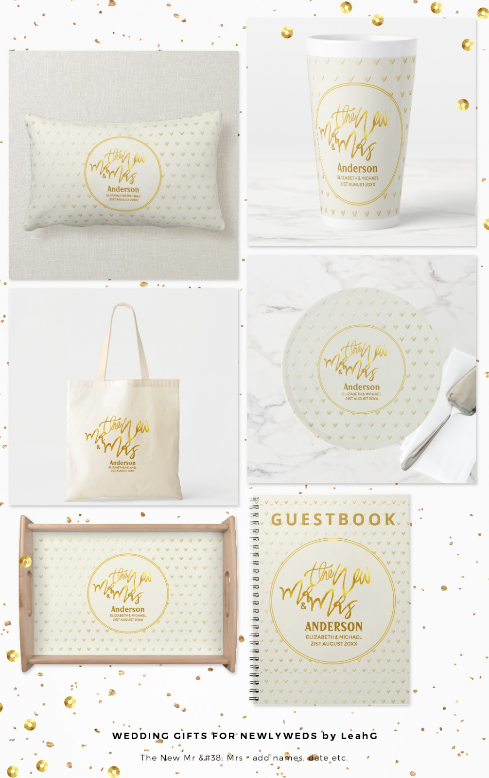 Wedding gifts newlyweds mr and mrs gold