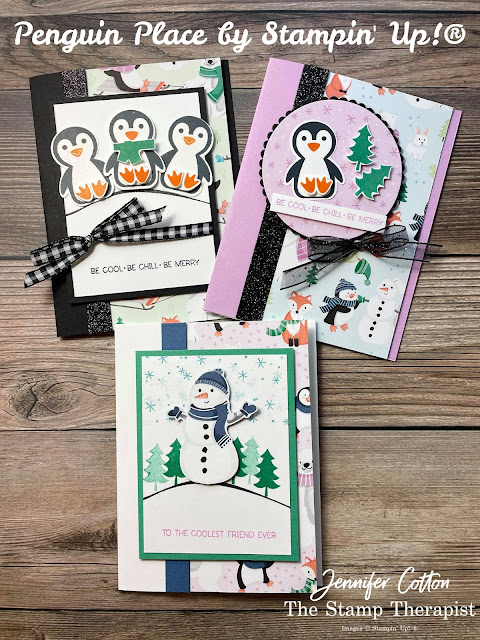 Stampin 'Up! Penguin Place Bundle; Penguin Builder Punch; Sale a Bration Penguin Playmates DSP; DSP card; Black Glitter Paper; Black & White Gingham Ribbon; Black Glittered Organdy Ribbon.  #StampinUp #StampTherapist #PenguinPlace #PenguinPlaymates #Saleabration