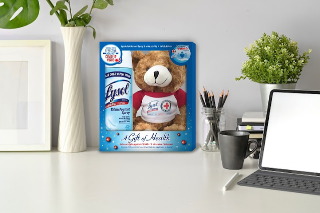 Pula, PRC's adorable bear and 2 units of 340g Lysol Disinfectant Spray are included in the special Christmas bundle