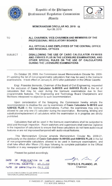 Memorandum for the Banned Calculators in the Licensure Examination