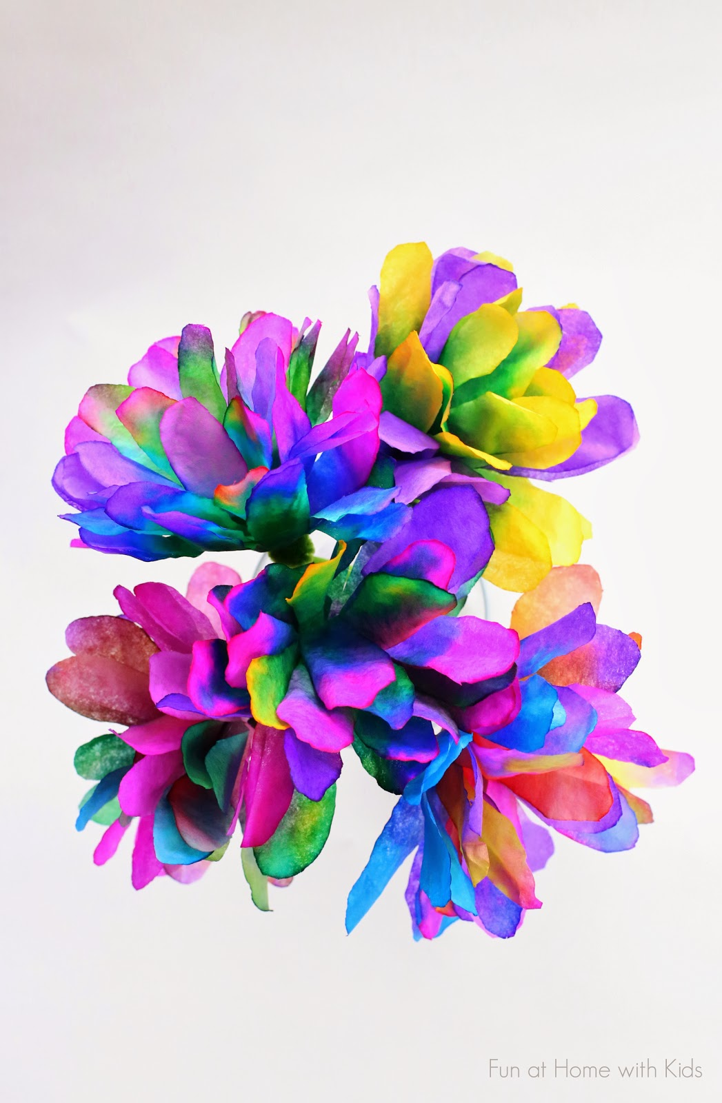 Vibrantly colored coffee filter flowers a new technique for making incredibly vibrant and bright coffee filter flowers from fun at home izmirmasajfo