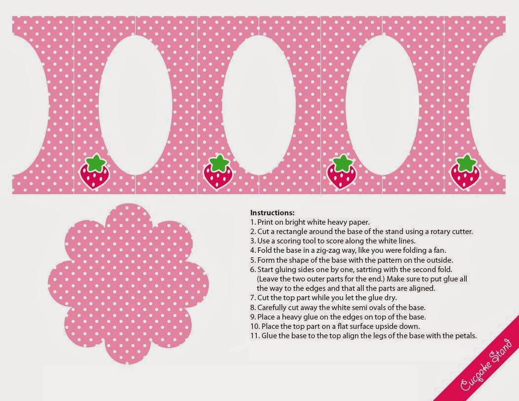 Strawberries: Free Printable Mini Cupcake Stand.