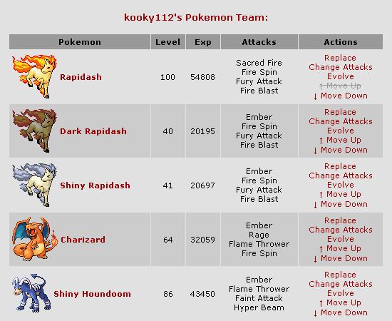 Tela de montagem do time em Pokémon Crater