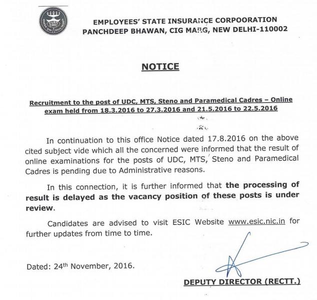 ESIC Official Notice Regarding Result of UDC,, MTS, Steno etc