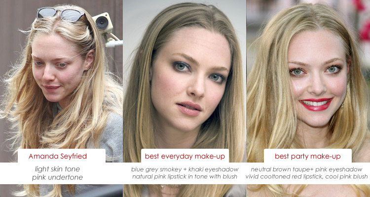 Make up charts: Amanda Seyfried and Her Skin's Pink Undertone