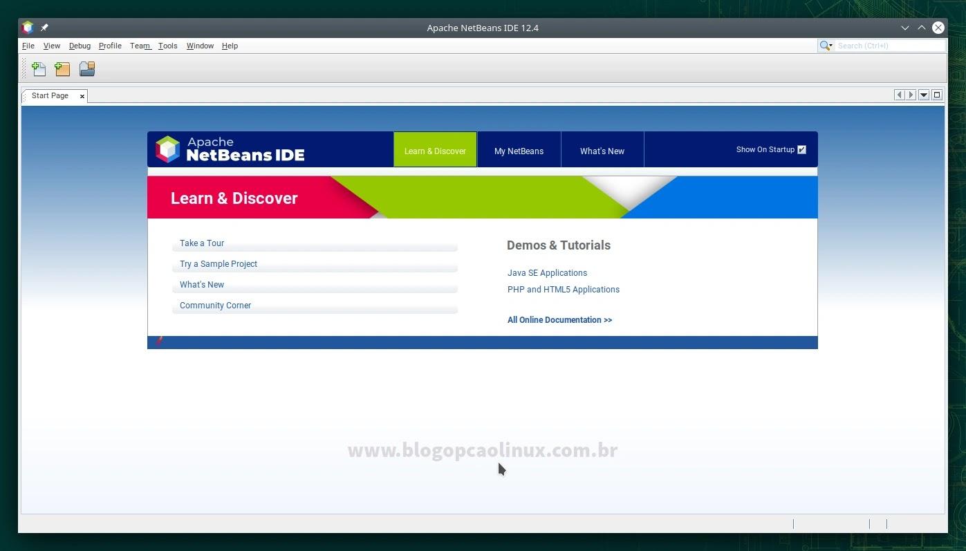 Apache NetBeans executando no openSUSE Leap 15.3