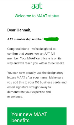 A screenshot of an email from AAT confirming Hannah now has MAAT (Member of Association of Accounting Technicans) status.