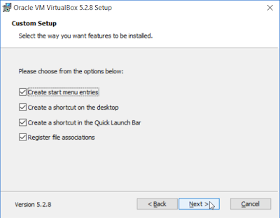 VirtualBox - Choose from the options bellow