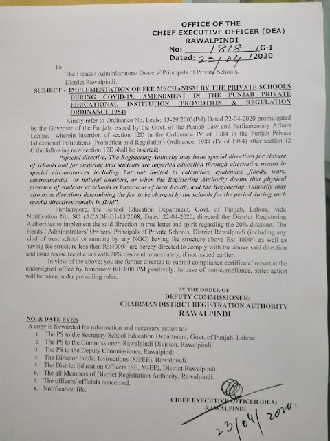 Fee concession notification for private schools students by ceo(dea) rawalpindi