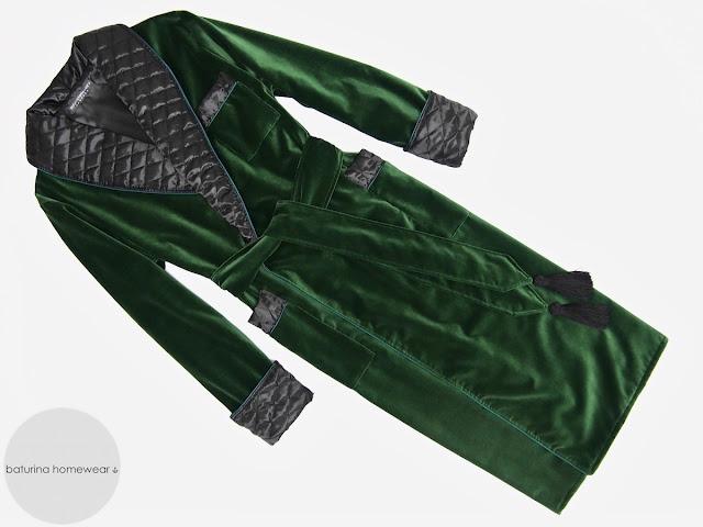Men's dark green velvet dressing gown gentleman's quilted silk smoking jacket robe warm