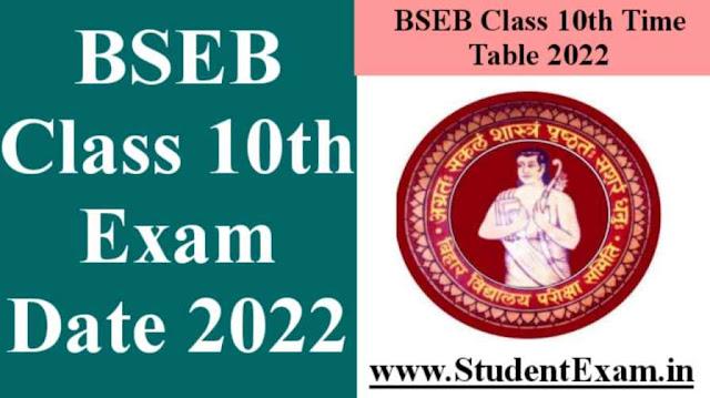 Bihar Board 10th Exam Date 2022