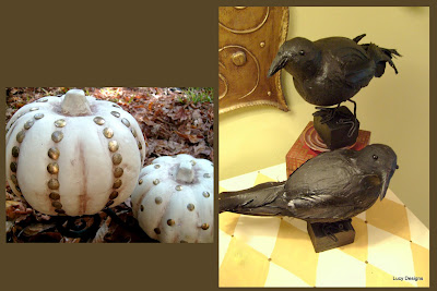 studded pumpkins from the dollar store and hand made ravens