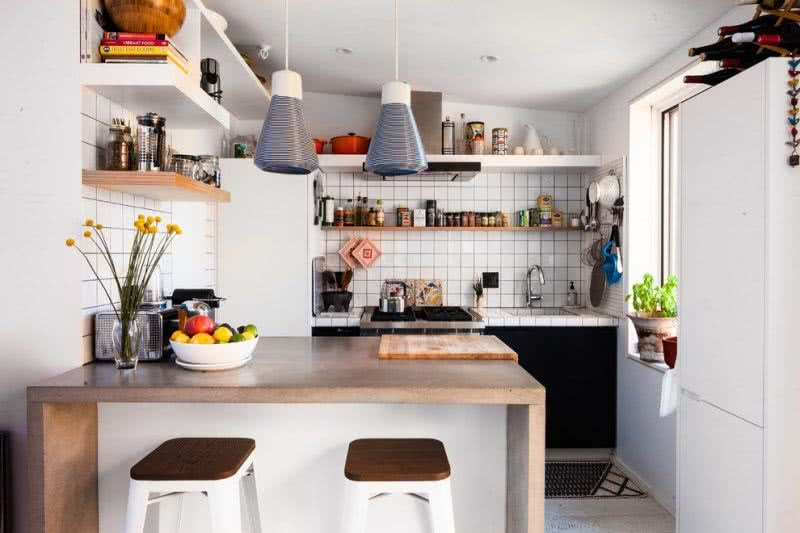 Kitchen design with beach house style.