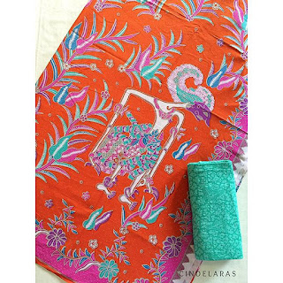 kain batik printing wayang orange pink mix embos