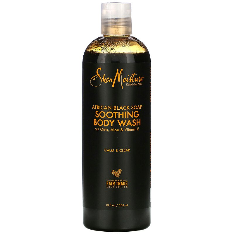 SheaMoisture, African Black Soap, Soothing Body Wash with Oats, Aloe & Vitamin E, 13 fl oz (384 ml)