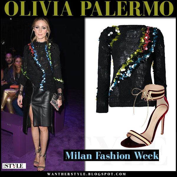Olivia Palermo in black knit embellished versace sweater, black leather skirt and sandals gianvito rossi augusta what she wore milan fashion week