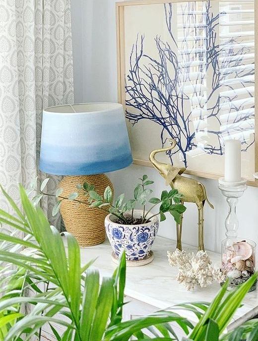 Blue Watercolor Painted Lampshade Ocean Water Idea