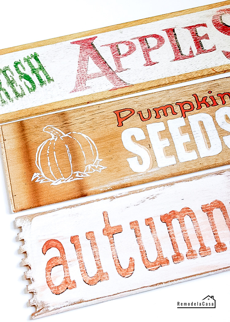 side of drawers are transformed or re-purposed into Fall signs - Fresh Apples - Pumpkin Seeds - Autumn