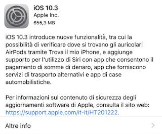 Apple rilascia ufficialmente il nuovo iOS 10.3