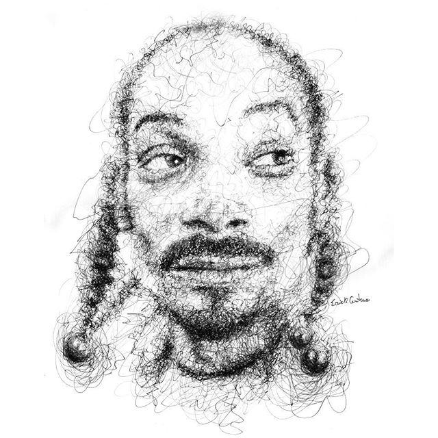 13-Snoop-Dogg-Erick-Centeno-Superheroes-Celebrities-and-Cartoons-Scribble-Drawings-www-designstack-co