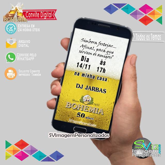 Boteco Cerveja Bohemia dicas e ideias para decoração de festa personalizados Convite Digital