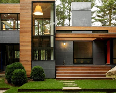 Luxury house with wood and glass contemporary style exterior design idea