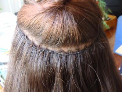 Alongamento de cabelo entrelaçado