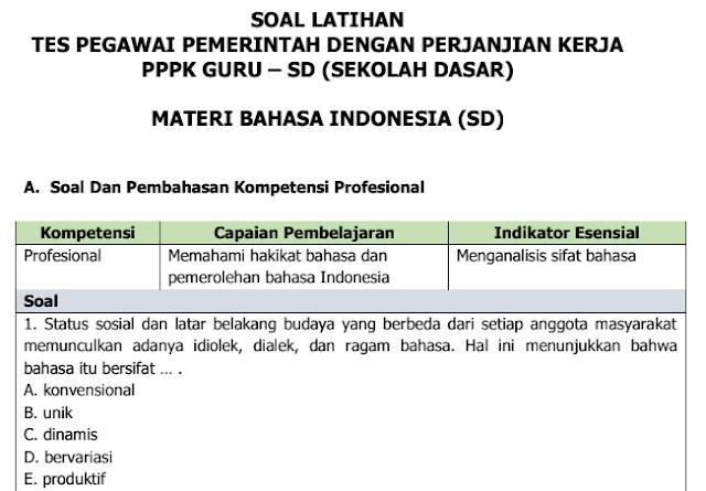 Soal Tes Latihan Seleksi Guru PPPK Materi Bahasa Indonesia Untuk SD