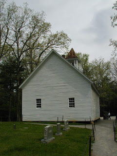 The rear of the Primitive Baptist Church, viewed from the cemetery.