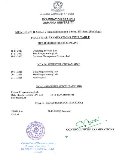Osmania University MCA (CBCS) II & IV Sem(Mains) and I & III Sem(Backlogs) Nov/Dec Practical Exam Notification