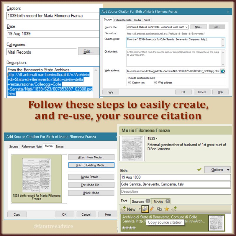 Your family tree software does all it can to simplify the creation of source citations.