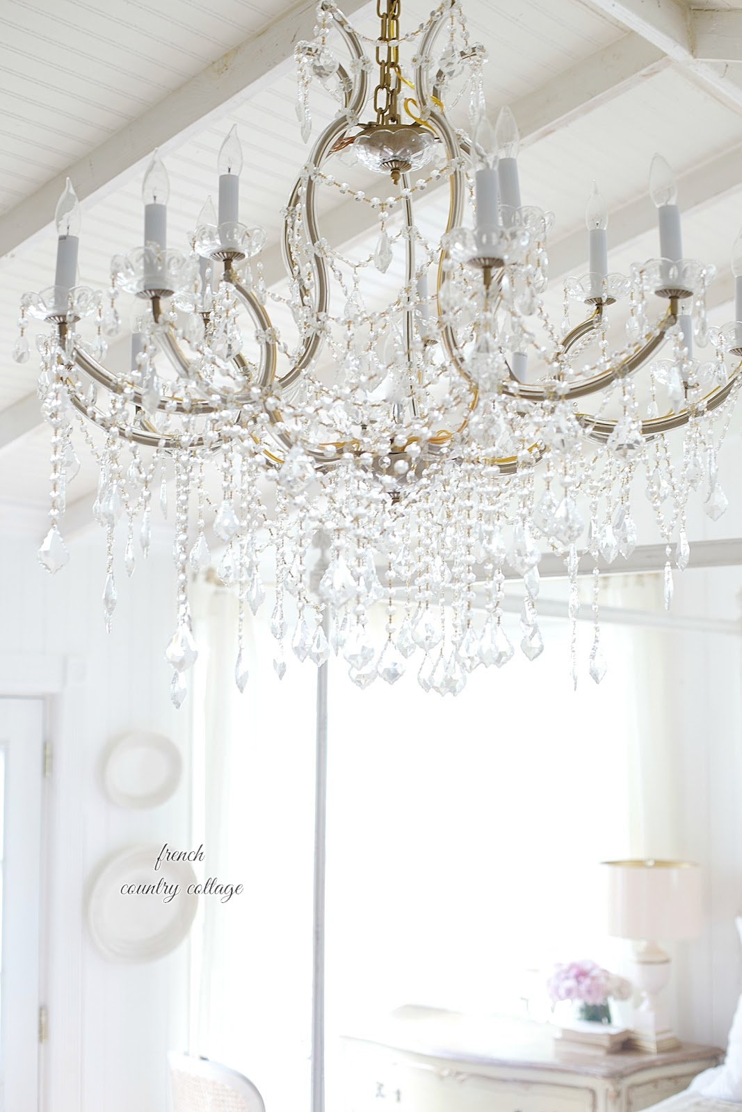 Great French Cottage crystal chandelier in bedroom