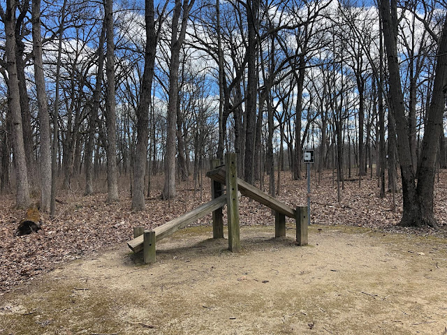 Fitness trail in Old School Forest Preserve in Mettawa, Illinois