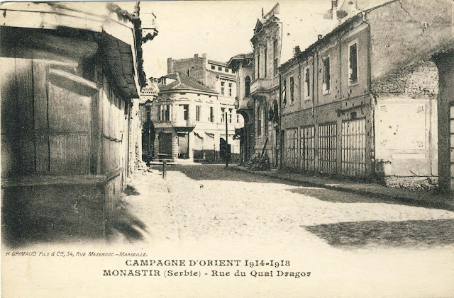 """Beginning of the Main Street (Sirok Sokak) or as it was then called street """"King Peter"""". It started from the river Dragor, passed near the Clock Tower and entered into the street that today is known as Sirok Sokak. Published by H.Grimaud et Cie, Marseille and sent to France on 6 - th March 1918."""