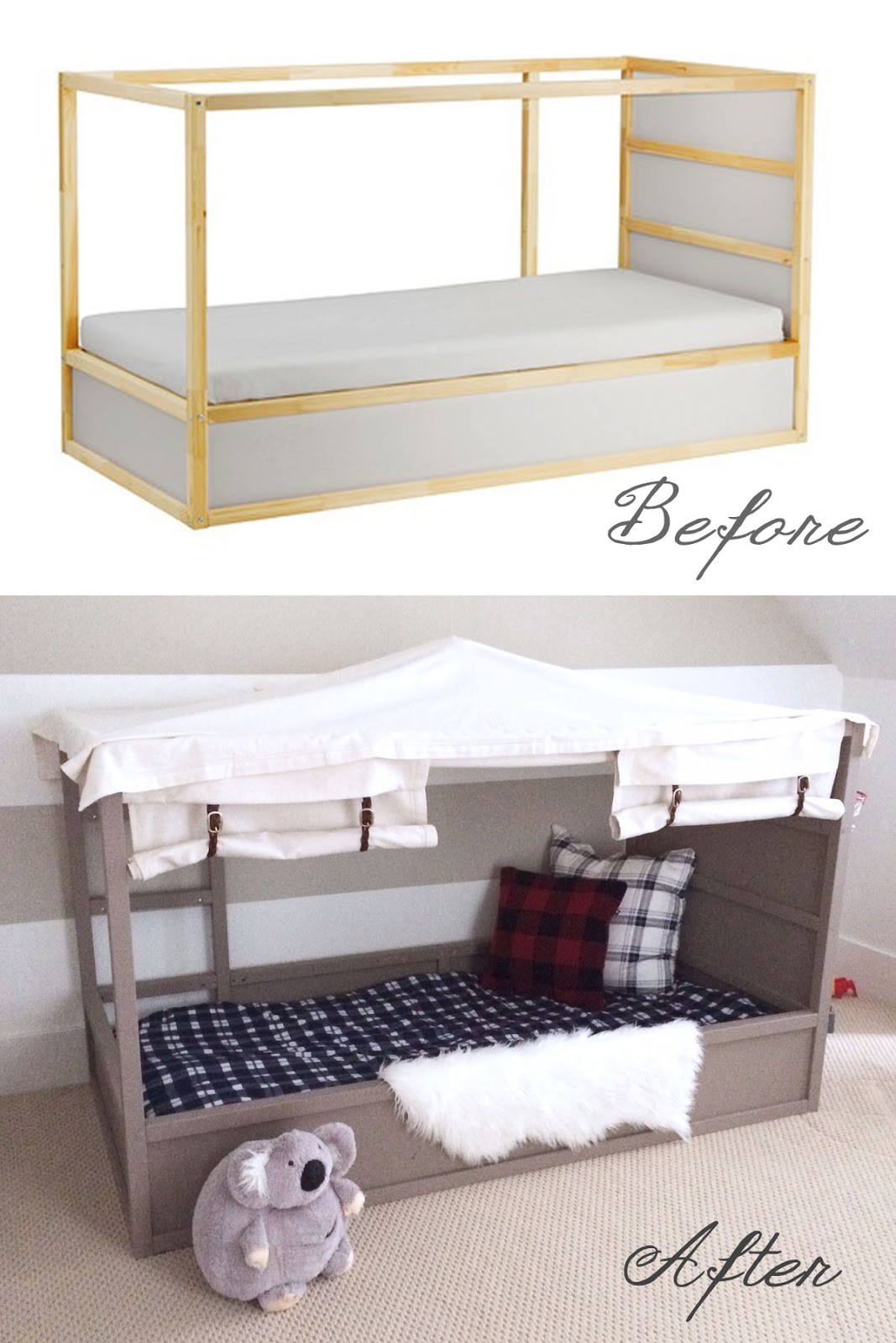 Ikea kura bed hack diy boy canopy bed harlow thistle for Letto kura ikea