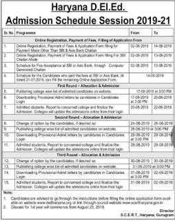 Haryana JBT / D.El.Ed Admission 2019 Schedule