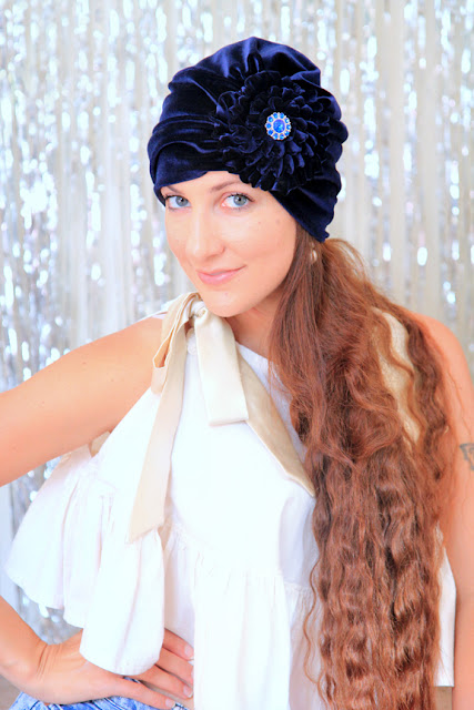 Flower Turban Headwrap in Navy Blue Velvet by Mademoiselle Mermaid