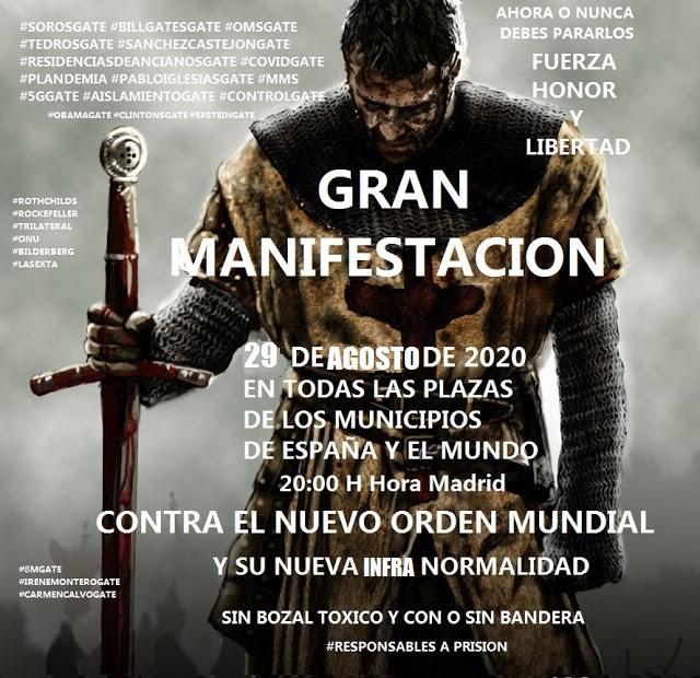 GRAN MANIFESTACION 29 DE AGOSTO DE 2020 CONTRA EL NUEVO ORDEN MUNDIAL Y SU NUEVA INFRA NORMALIDAD